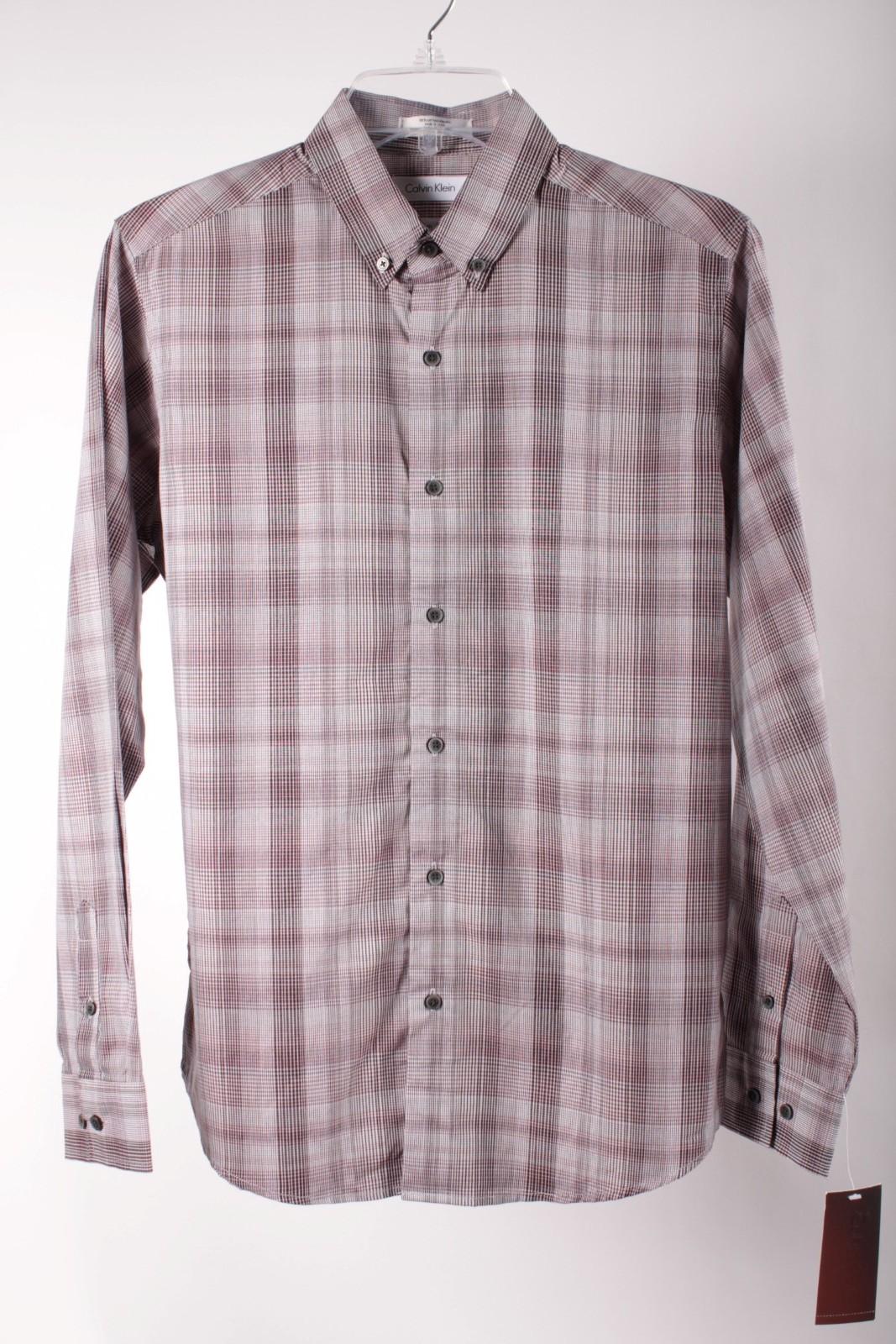 Calvin Klein Boys Dark Purple Plaid Slim Fit Dress Shirt